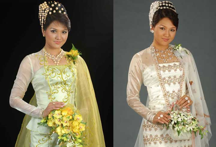 and Elegant Myanmar Female Celebrities in Traditional Costume