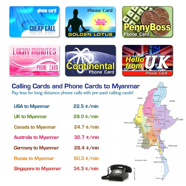 Prepaid Calling Cards and Phone Cards to Myanmar